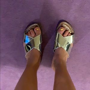 NWOT Sam Edelman silver metallic sandals